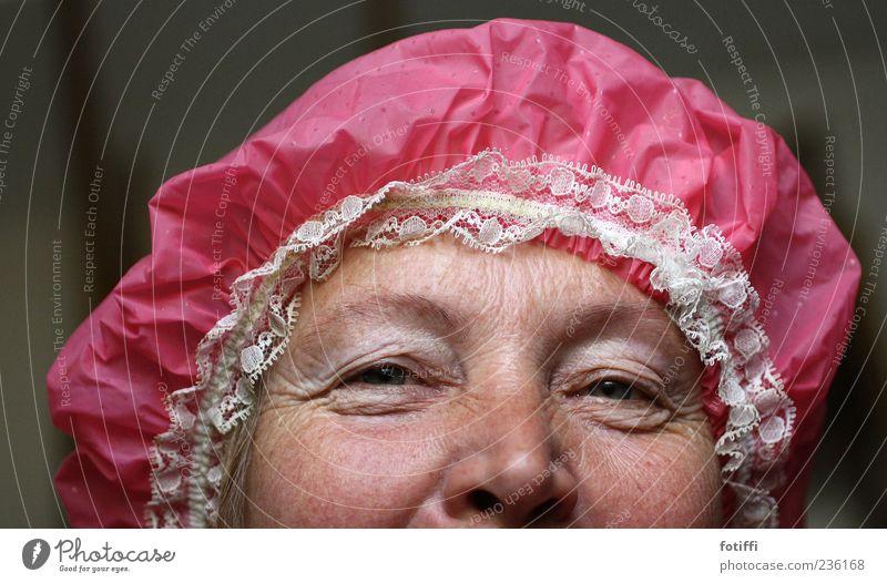 hooded bonnet Human being Woman Adults Skin Eyes Nose 1 45 - 60 years Authentic Joie de vivre (Vitality) Warm-heartedness Senior citizen Shower cap Pink