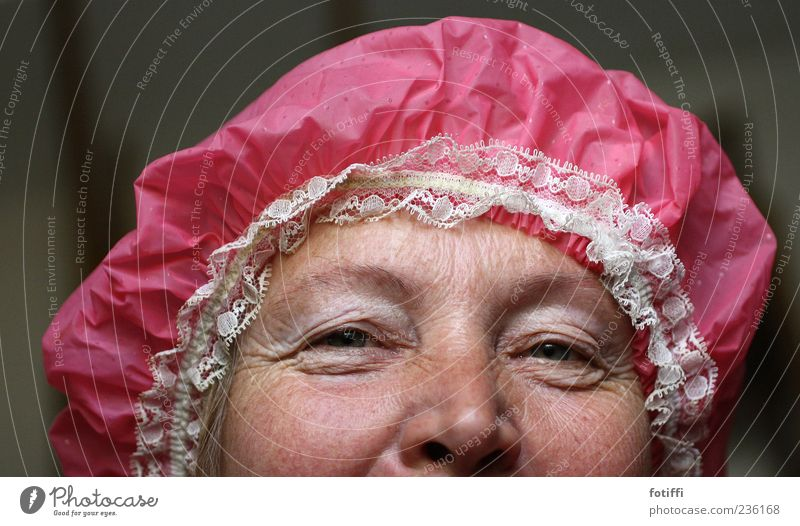 Human being Woman Adults Eyes Feminine Senior citizen Laughter Pink Skin Nose Authentic Warm-heartedness Wrinkle 45 - 60 years Joie de vivre (Vitality) Grinning