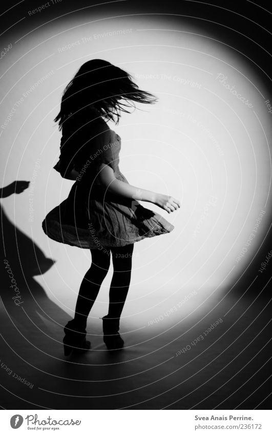 Human being Youth (Young adults) Beautiful Feminine Fashion Dance Young woman Dress Skirt Rotate Black & white photo