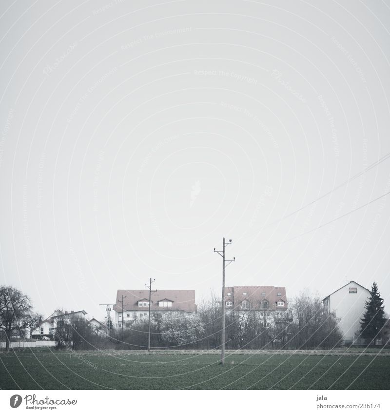 outskirts Nature Landscape Sky Bad weather Fog Plant Tree Bushes Field Outskirts House (Residential Structure) Manmade structures Building Architecture