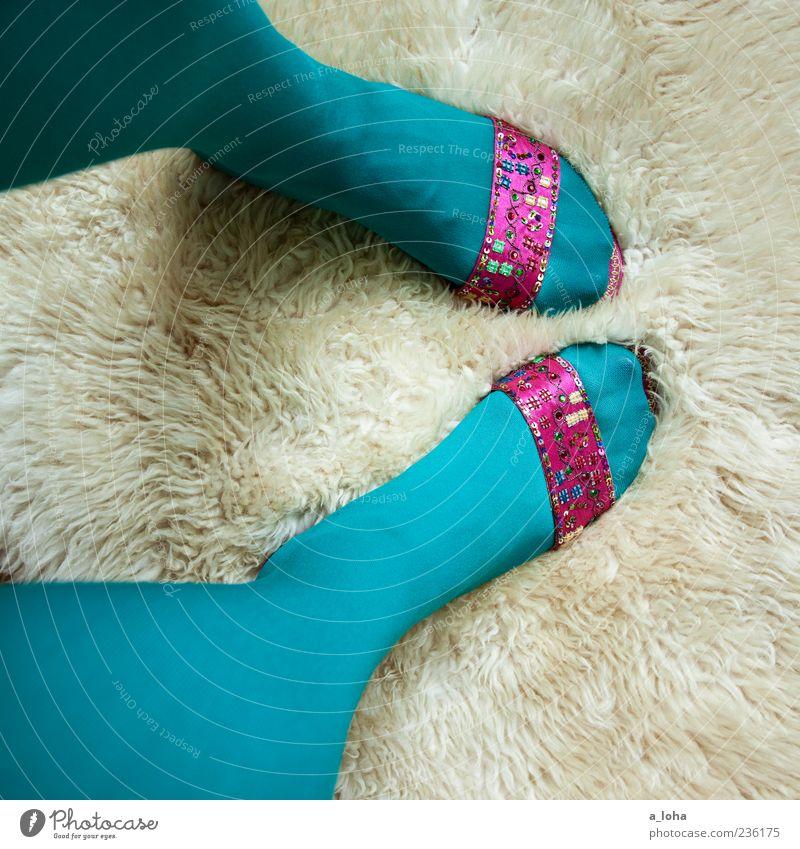 Woman Beautiful Adults Feminine Fashion Feet Footwear Pink Glittering Design Style Stand Lifestyle Uniqueness Turquoise Trashy