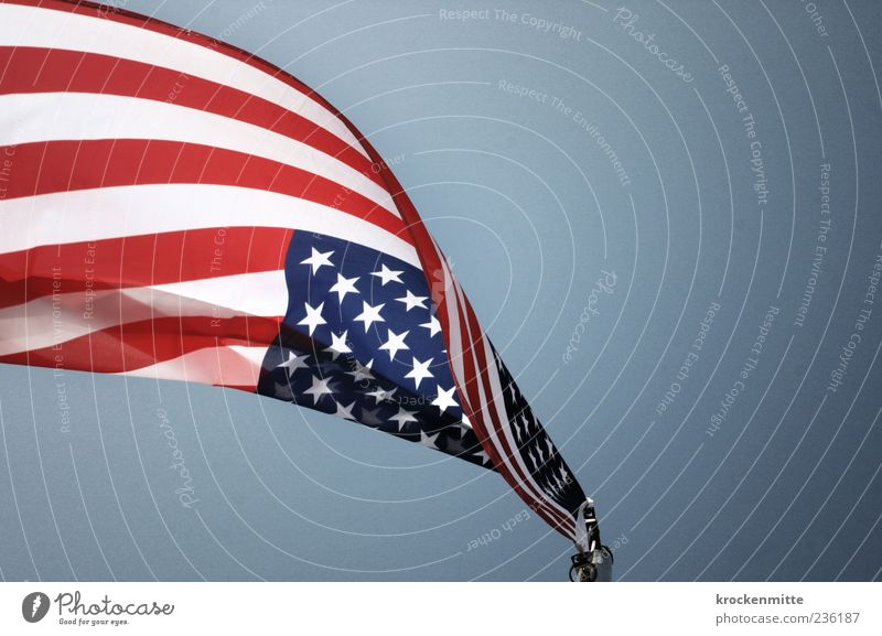falling star Flagpole Blue Red White Patriotism USA Americas American Flag Stripe Sky Blow Judder Swing Freedom Ensign World power Might Democracy