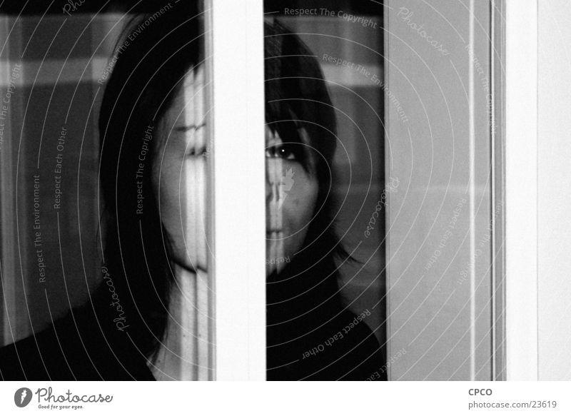 Girl behind the window Woman Window Portrait photograph Window pane Black & white photo