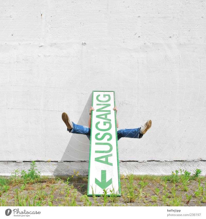 notice Human being Masculine Man Adults Life Legs Feet 1 Sign Characters Arrow To hold on Way out Orientation Direction Colour photo Multicoloured Exterior shot