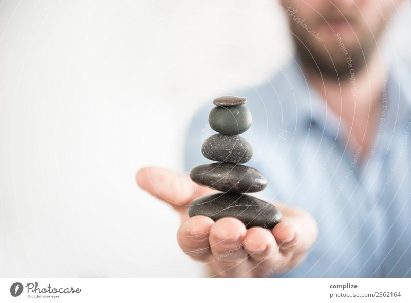 Man Beautiful Hand Relaxation Calm Adults Life Healthy Health care Stone Contentment Tower Wellness Well-being Harmonious Meditation