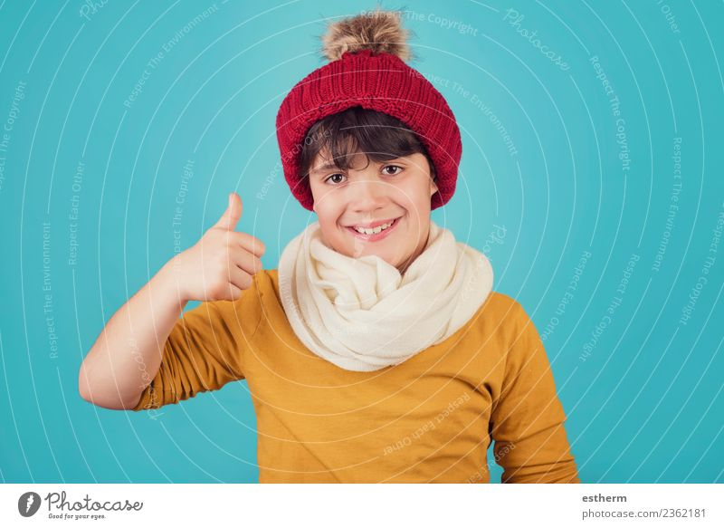 smiling boy with scarf and hat in winter Child Human being Vacation & Travel Joy Winter Lifestyle Cold Emotions Snow Masculine Infancy Happiness Success Smiling