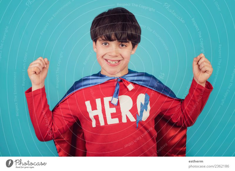 Happy little child playing superhero Child Human being Joy Lifestyle Emotions Boy (child) Party Feasts & Celebrations Masculine Infancy Power Success Smiling
