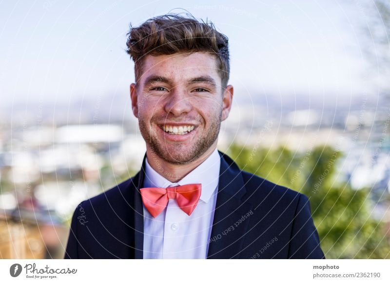 Young man in suit with bow tie Lifestyle Luxury Elegant Style Beautiful Financial Industry Business Career Success Human being Masculine Youth (Young adults)