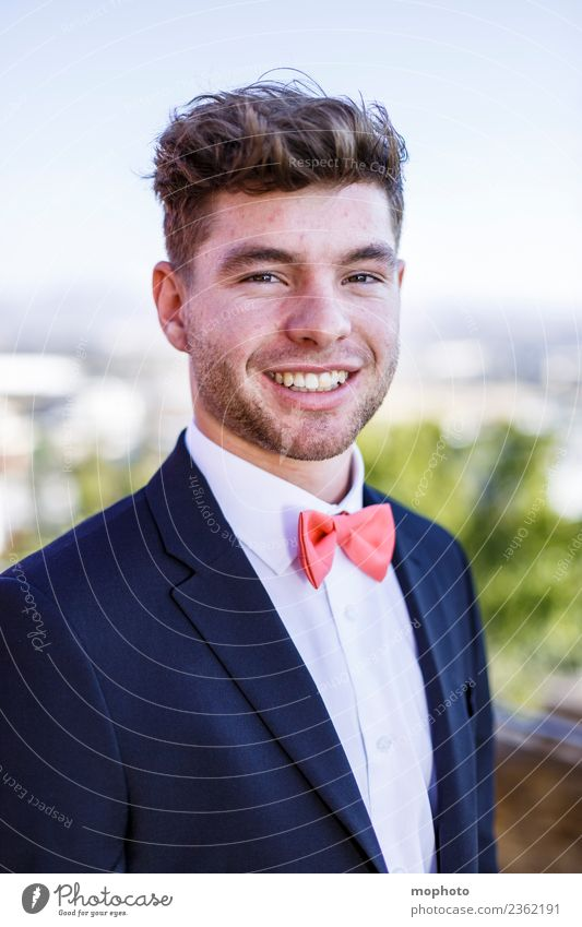 Young man in suit with bow tie Lifestyle Elegant Style Happy Beautiful Feasts & Celebrations Wedding Birthday Human being Masculine Youth (Young adults) Partner