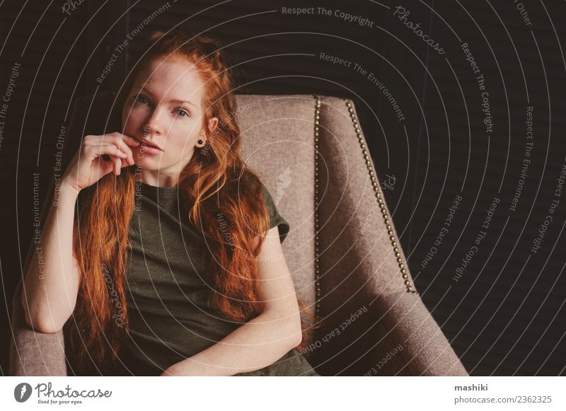 young beautiful redhead hipster woman Woman Youth (Young adults) Relaxation Dark Adults Lifestyle Wood Style Fashion Gray Metal Modern Soft Beauty Photography