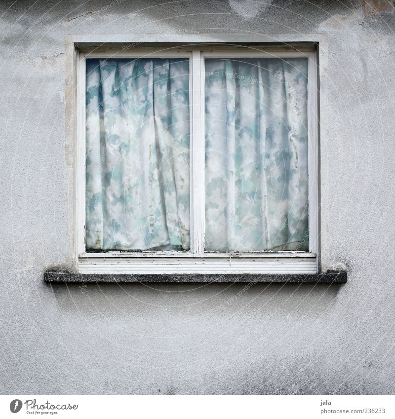 windows House (Residential Structure) Wall (barrier) Wall (building) Window Curtain Drape Gloomy Exterior shot Deserted Copy Space bottom Neutral Background Day