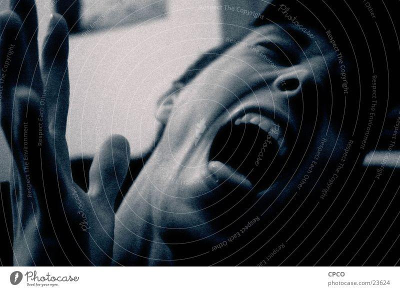 Man Hand Face Dark Emotions Fear Scream Pain
