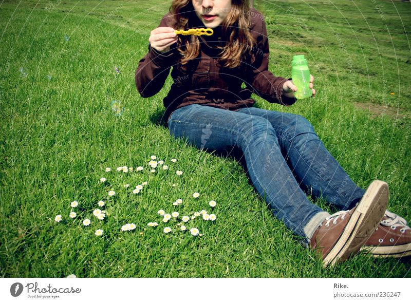 let go. Leisure and hobbies Playing Children's game Soap bubble Summer Feminine Young woman Youth (Young adults) 1 Human being 18 - 30 years Adults Nature