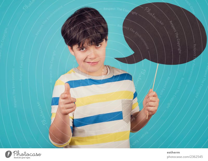 Boy holding a sign on blue background Lifestyle Joy Party Event Feasts & Celebrations Human being Masculine Child Toddler Infancy 1 8 - 13 years Sign