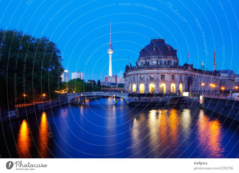 berlin colorful Museum Culture Deserted Bridge Tourist Attraction Old Berlin Museum island Spree Classicism Pergamon Museum Television tower Evening Twilight