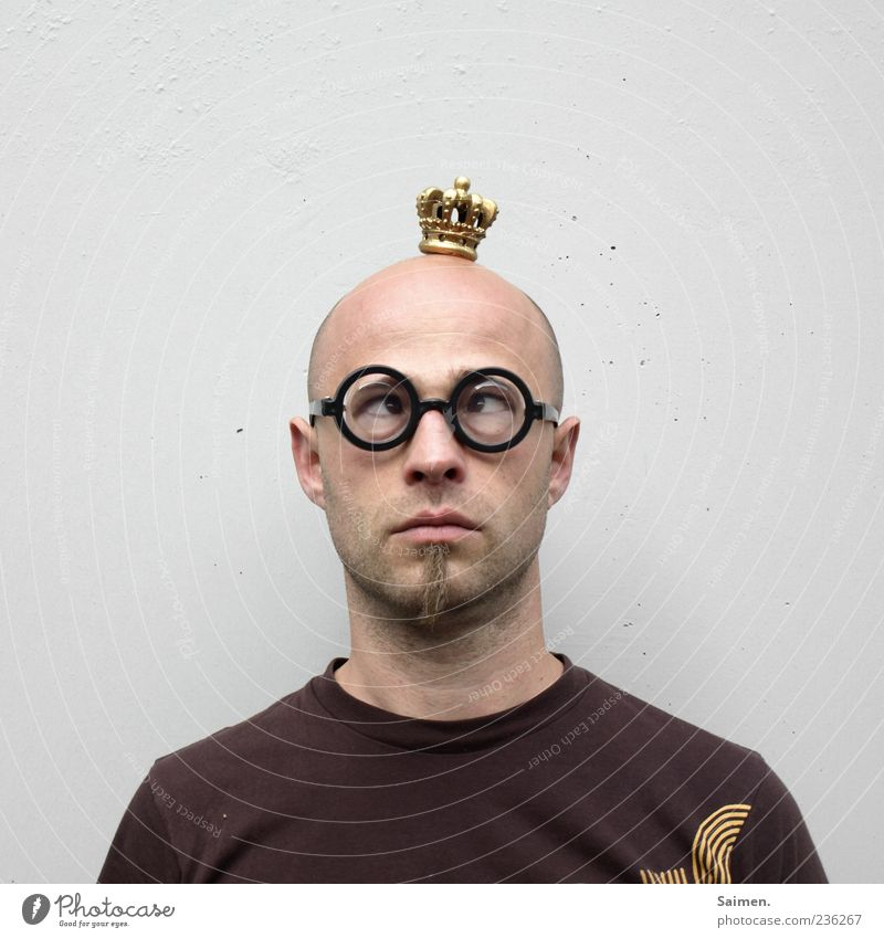 Tale of the Nerd King Human being Masculine Man Adults 1 Might Freak Nerdy Eyeglasses Crown Bald or shaved head Squint Looking Head Portrait photograph
