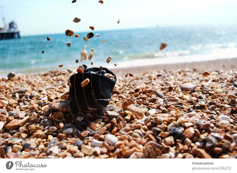 The free stones Vacation & Travel Beach Pebble beach Colour photo Exterior shot Deserted Copy Space right Day Contrast Sunlight Central perspective To fall