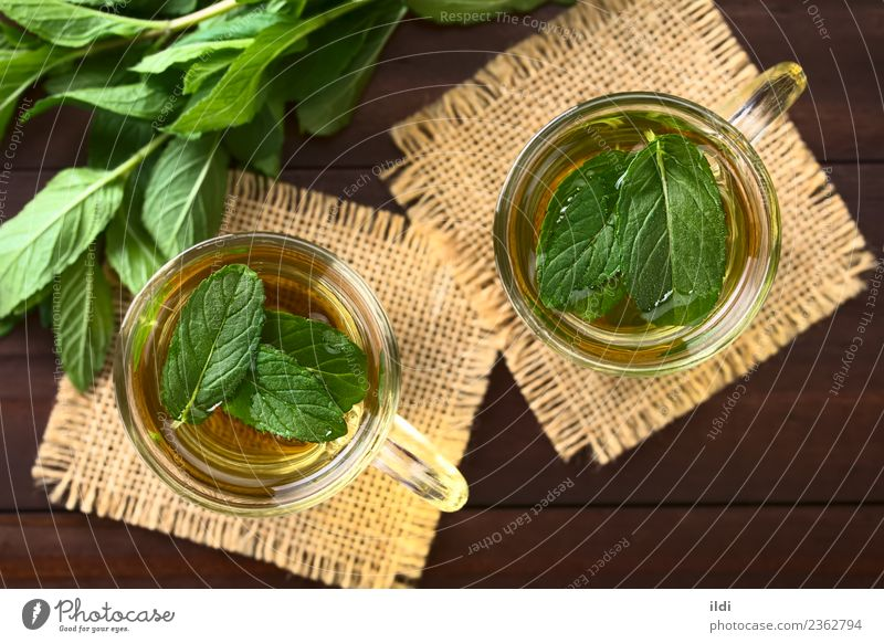 Fresh Mint Herbal Tea Beverage herbal drink Refreshment spearmint Aromatic remedy medicine flavor healthy cold glass cup overhead Top Horizontal refreshing leaf