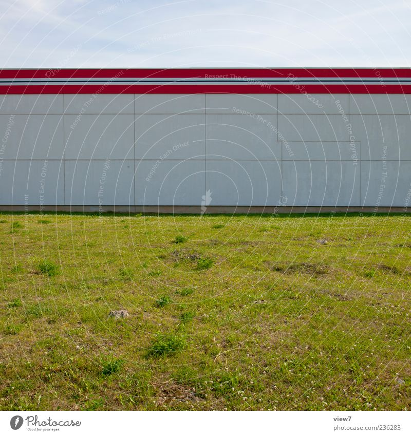 White Red Colour House (Residential Structure) Meadow Wall (building) Architecture Stone Wall (barrier) Building Line Facade Concrete Modern Stripe Simple
