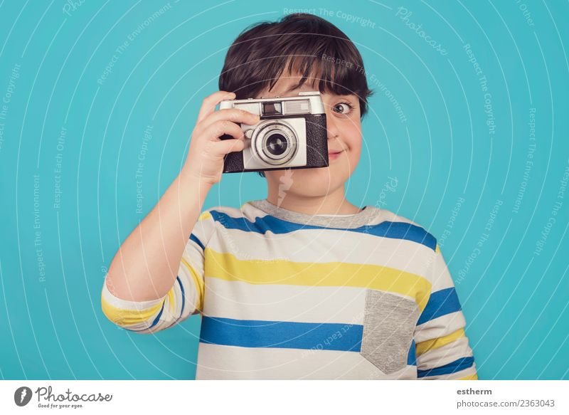 smiling boy with photo camera Lifestyle Joy Vacation & Travel Tourism Trip Adventure Freedom Camera Human being Masculine Child Toddler Infancy 1 8 - 13 years