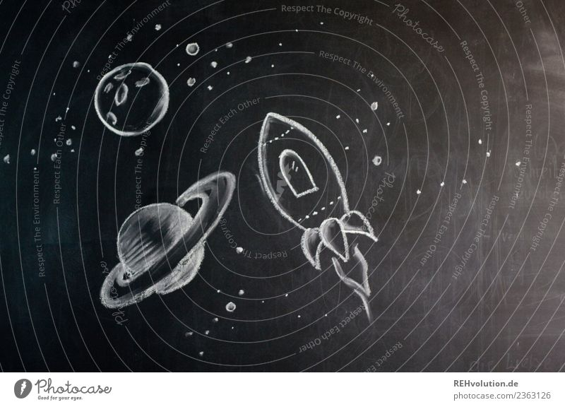 Universe - drawing on a blackboard Rocket Flying Drawing Chalk Creativity Painted Idea Space Shuttle Moon Blackboard Art Freedom New Research Discover Future
