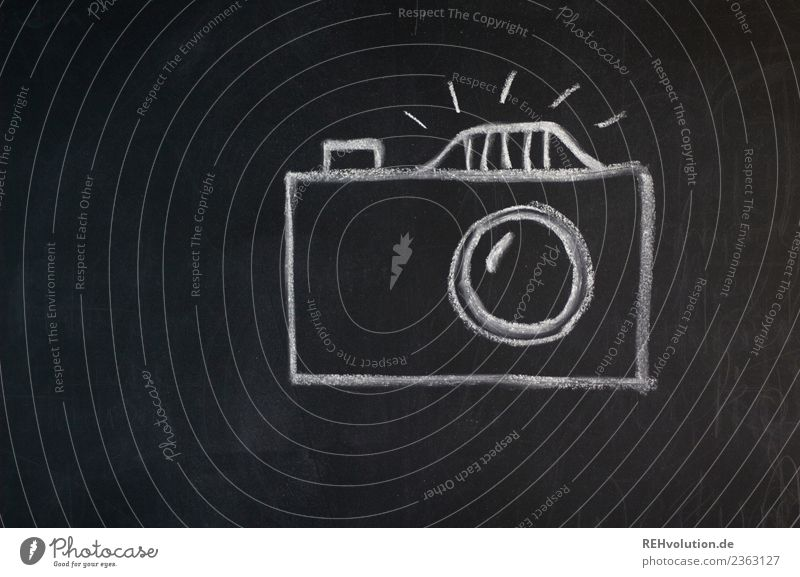 Leisure and hobbies Creativity Photography Symbols and metaphors Camera Painted Blackboard Drawing Chalk Take a photo Icon