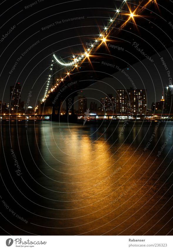 City High-rise Bridge River Bank building Skyline New York New York City Manhattan Illumination Port City Outskirts Night shot Populated Hudson River