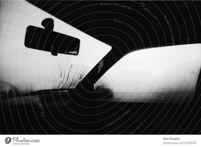 White Black Dark Car Car Window Fog Perspective Car door Analog Damp Vehicle Means of transport Windscreen Black & white photo Rear view mirror Misted up