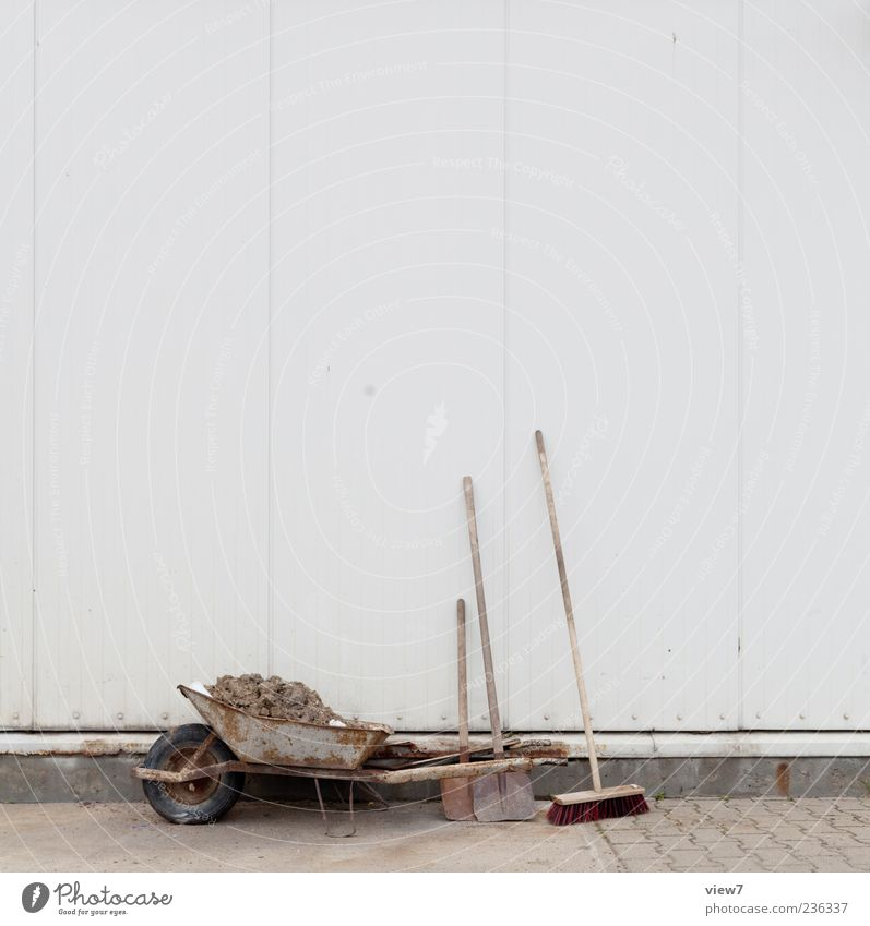 Wall (building) Stone Wall (barrier) Metal Facade Concrete Authentic Construction site Break Simple Make Build Workplace Broom Shovel Wheelbarrow