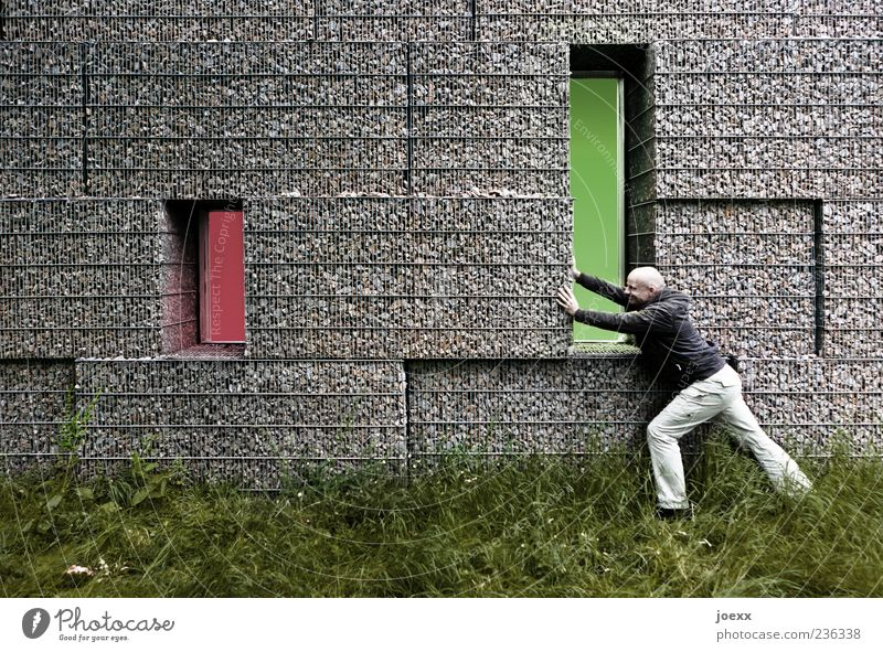 Human being Man Green Red Adults Meadow Wall (building) Grass Gray Wall (barrier) Power Masculine Exceptional Determination 30 - 45 years Push
