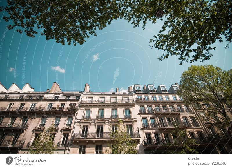 Boulevard Saint-Michel Sky Clouds Beautiful weather Tree Leaf Paris France Europe Town Capital city Downtown Old town House (Residential Structure)