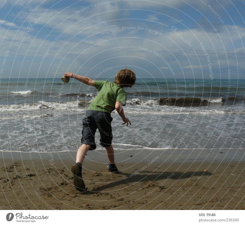 Human being Child Sky Water Ocean Joy Clouds Beach Life Playing Boy (child) Coast Sand Jump Horizon Waves