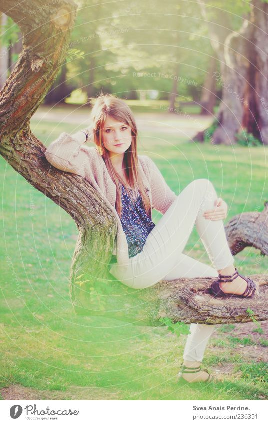 branched. Style Feminine Young woman Youth (Young adults) 1 Human being 18 - 30 years Adults Tree Tree trunk Branch Garden Footwear Blonde Long-haired Sit