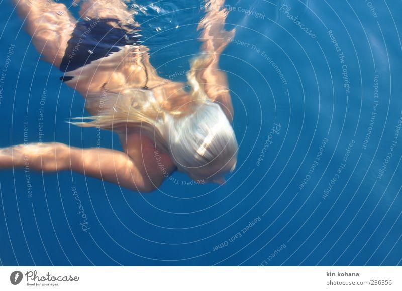 summer Joy Vacation & Travel Far-off places Freedom Summer Summer vacation Sun Ocean Swimming & Bathing Feminine Woman Adults 1 Human being Water Bikini Blonde