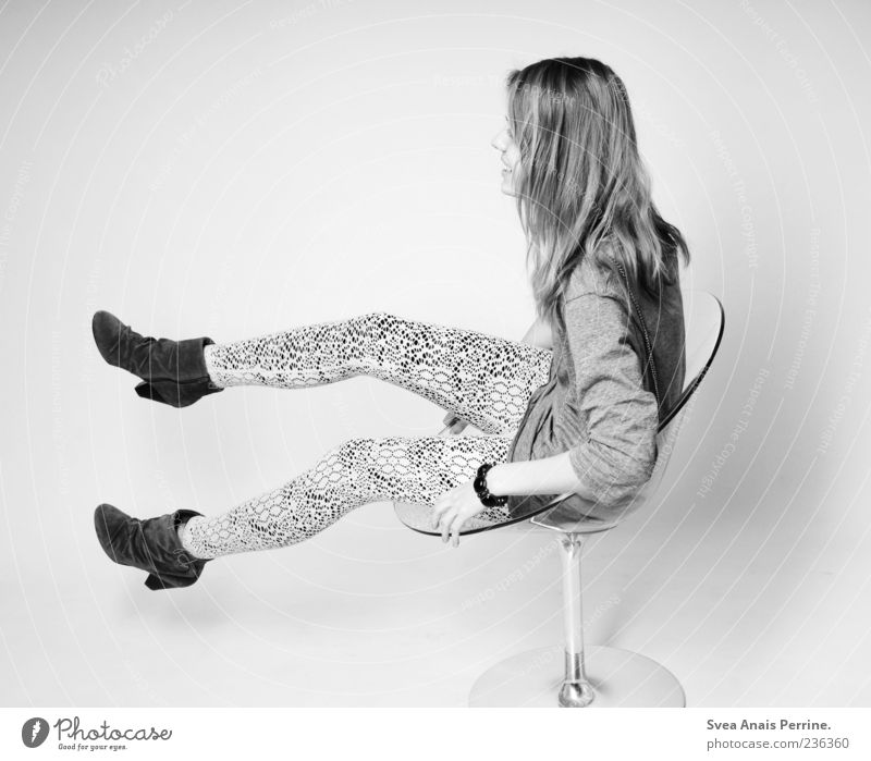 wui. Feminine Young woman Youth (Young adults) 1 Human being Fashion Leggings High heels Long-haired Chair Rotate Exceptional Thin Joy Happy Happiness