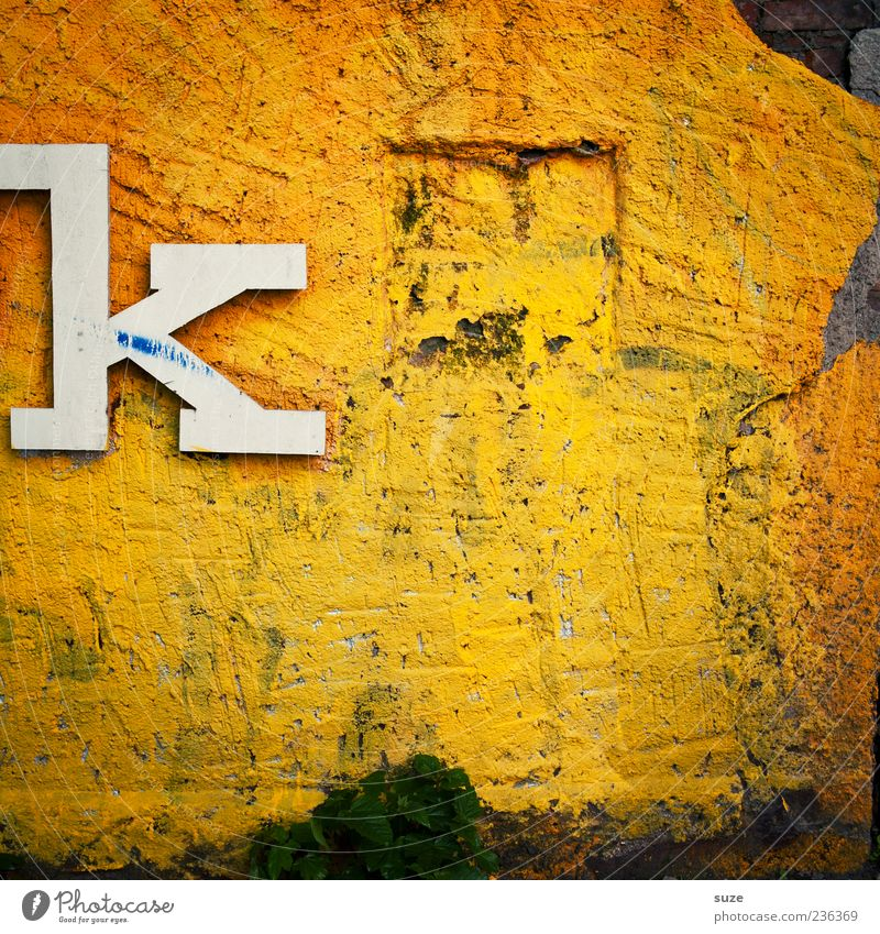 k like nobody else Art Wall (barrier) Wall (building) Facade Sign Characters Old Dirty Simple Broken Trashy Gloomy Dry Yellow White Letters (alphabet)