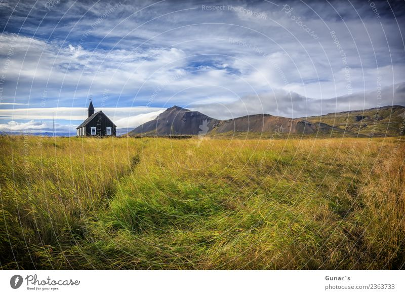 Old black wooden church on Iceland. Relaxation Vacation & Travel Tourism Trip Adventure Far-off places Freedom Expedition Camping Summer vacation Mountain