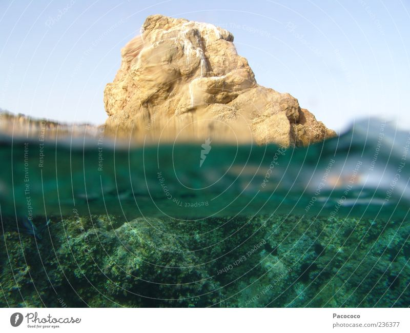 Rock above water Vacation & Travel Summer Ocean Island Waves Dive Nature Landscape Water Beautiful weather Bay Mediterranean sea Stone Swimming & Bathing