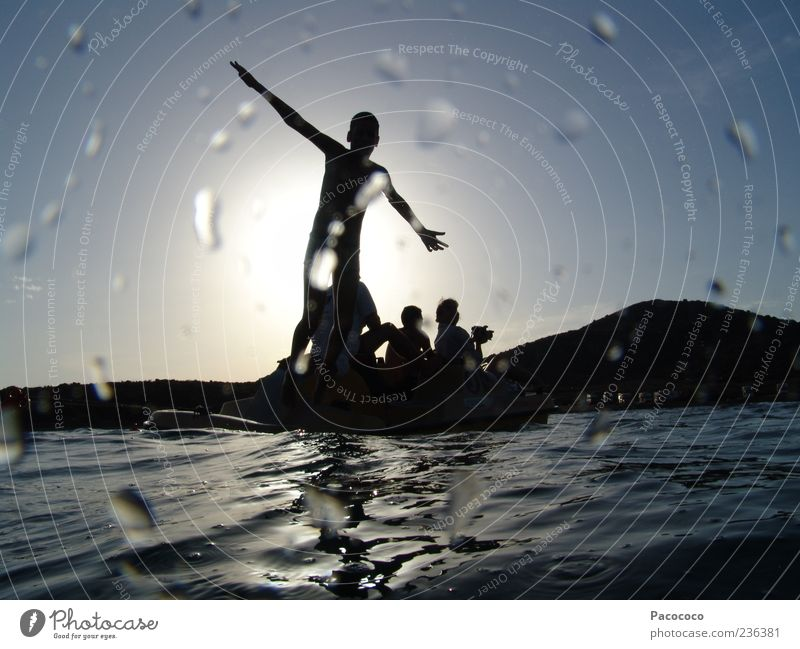 water shadow Joy Swimming & Bathing Playing Freedom Summer Infancy 4 Human being Water Sun Beautiful weather Ocean Dinghy Flying Stand Together