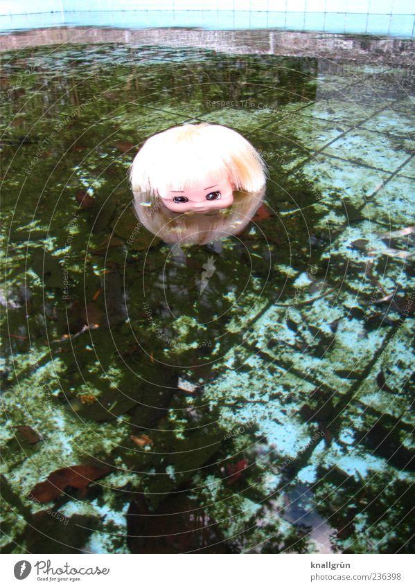 blonde Water Toys Doll Swimming & Bathing Observe Blonde Dirty Dark Creepy Blue Brown Green Emotions Bizarre Transience Morbid Evil Autumn Dive doll's head Tile