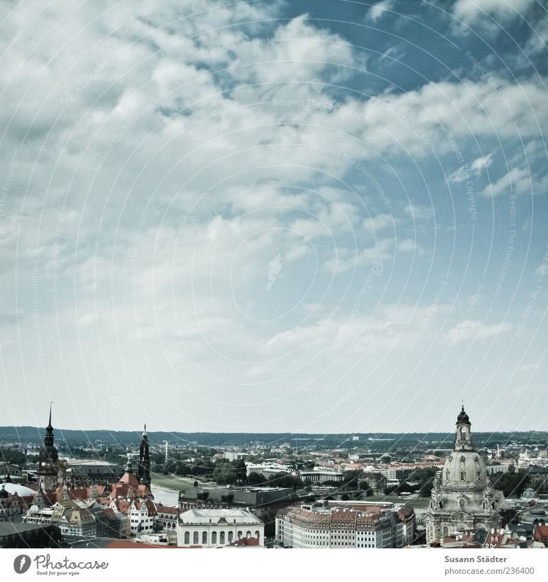 City Summer Far-off places Church Uniqueness Beautiful weather Vantage point Skyline Dresden Downtown Old town Saxony Building Frauenkirche Clouds in the sky