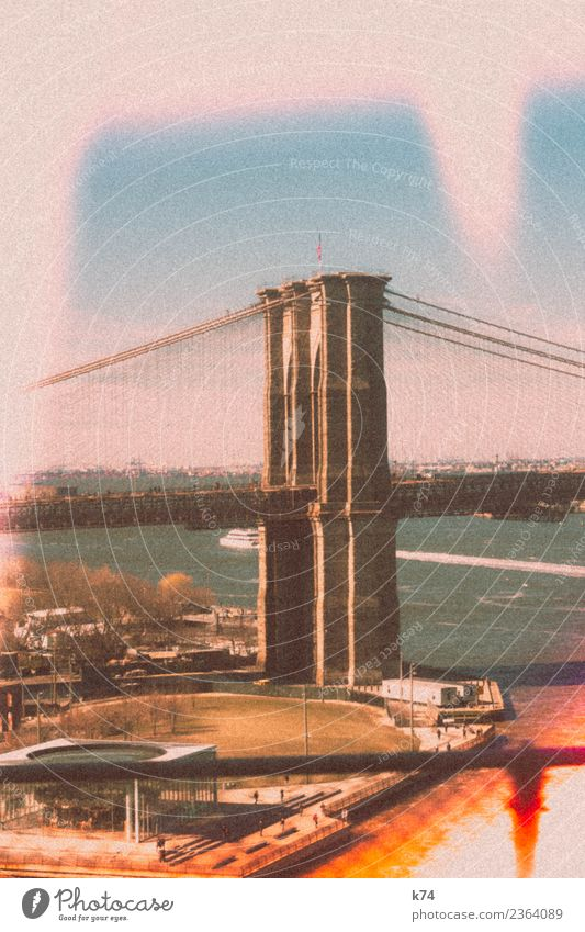 NYC - Brooklyn Bridge II Day Exterior shot Colour photo Town New York City USA Americas Capital city Downtown Deserted Building Architecture Landmark
