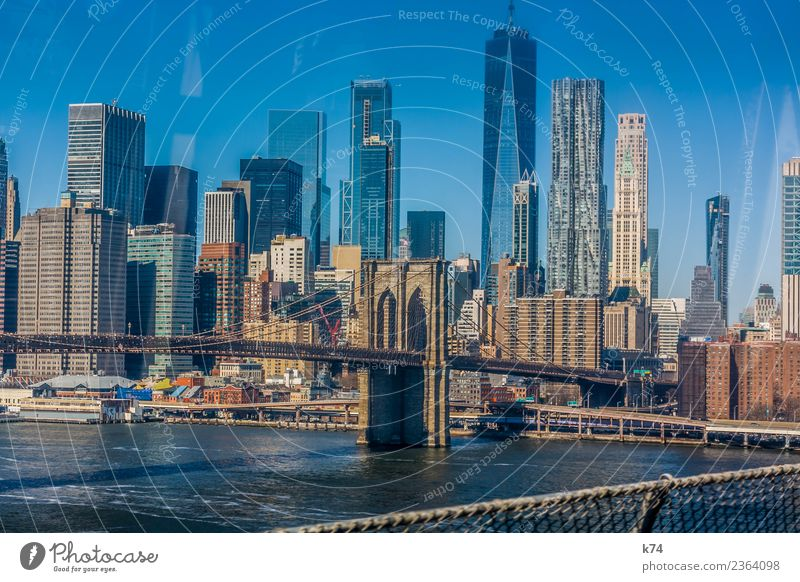 NYC - Brooklyn Bridge Skyline Worm's-eye view Day Exterior shot Subdued colour Colour photo Town New York City USA Americas Capital city Downtown Deserted