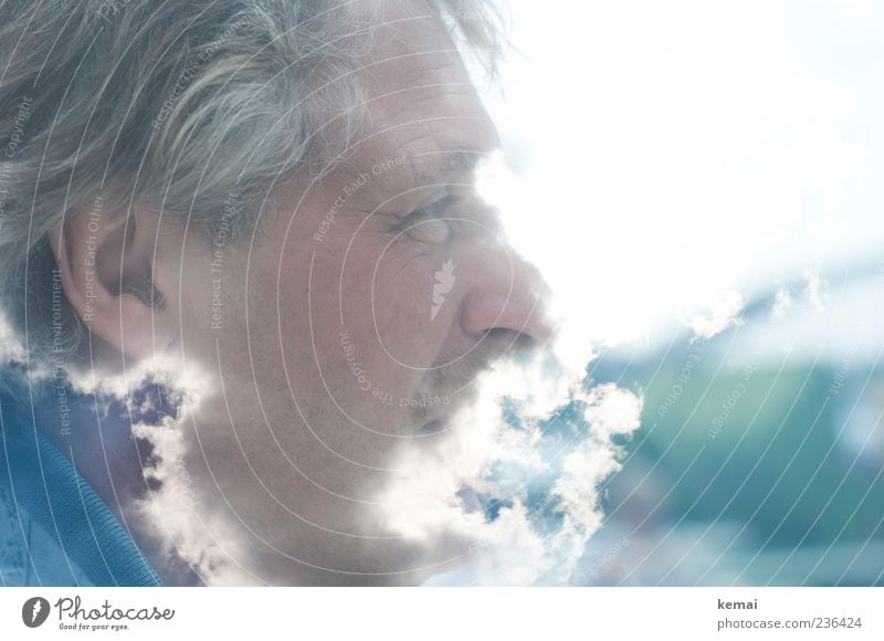 The dear God Human being Masculine Man Adults Life Head Eyes Ear Nose 1 45 - 60 years Clouds Beautiful weather Bright Double exposure Smoke Hair and hairstyles