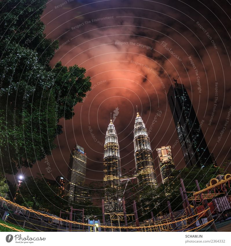The skyline over the Twin Petronas Towers. Lifestyle Joy Vacation & Travel Freedom City trip Night life Office Construction site Business Technology Landscape