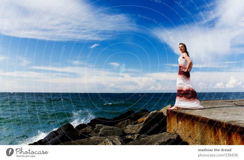 Human being Sky Youth (Young adults) Water Beautiful Summer Clouds Adults Feminine Coast Hair and hairstyles Stone Style Fashion Horizon Waves