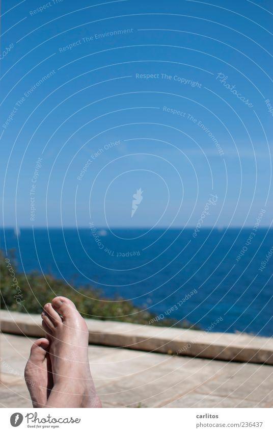 Sky Man Blue Water Summer Ocean Calm Adults Relaxation Warmth Coast Wall (barrier) Feet Horizon Contentment Lie