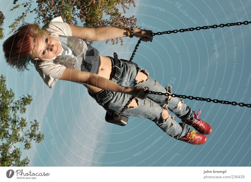 flight Feminine Young woman Youth (Young adults) 1 Human being To swing Brash Happiness Happy Joy Joie de vivre (Vitality) Infancy Swing Playground Punk Flying