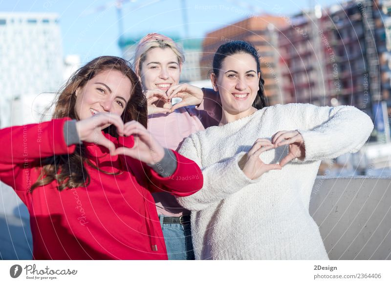 Heart shape from friends hands Lifestyle Joy Happy Beautiful Leisure and hobbies Playing Flirt Human being Feminine Young woman Youth (Young adults) Woman