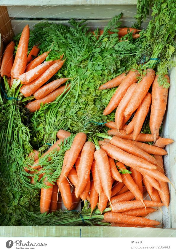 Green Nutrition Food Orange Healthy Fresh Vegetable Delicious Organic produce Crate Carrot Vegetarian diet Markets Market stall Store premises Wooden box